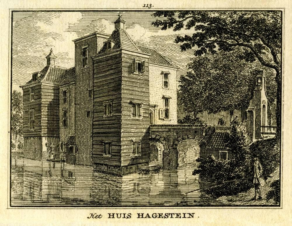 Kasteel Hagestein in Hagestein. Tekening van Hagestein II door Jan de Beijer, gravure Hendrik Spilman (Uit: Het Verheerlykt Nederland, Isaac Tirion, 1745/1774)
